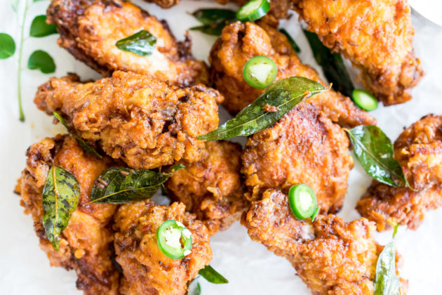 Chicken 65 Wings with Cucumber Raita Dip