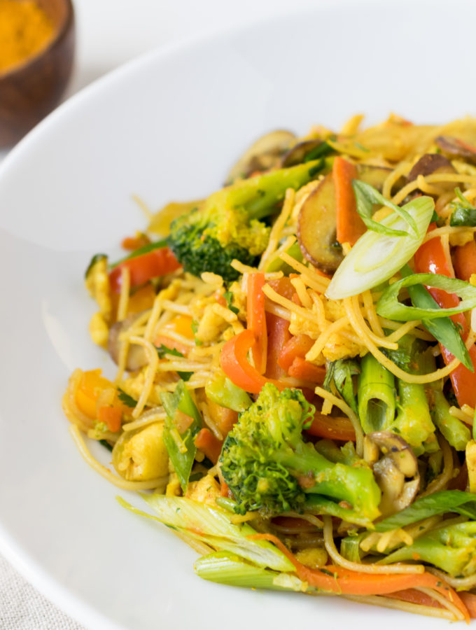 Curry Veggies and Rice Noodles