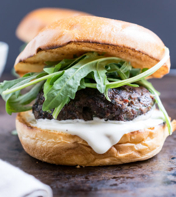 Lamb Burgers with Goat Cheese Spread - Recipe by Cooks and Kid