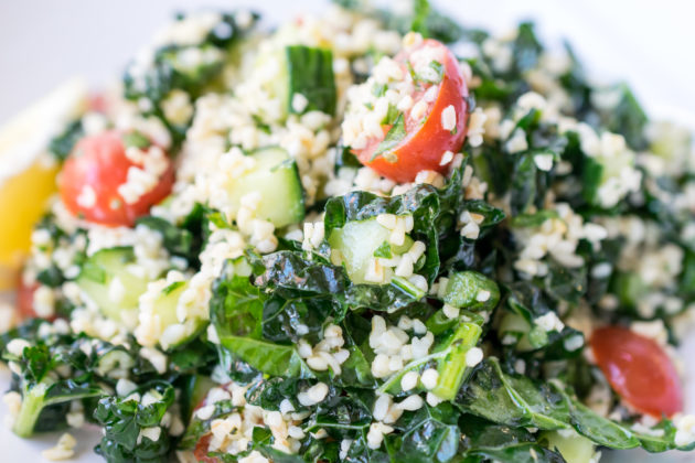 Yogurt Marinated Grilled Chicken and Kale Tabbouleh