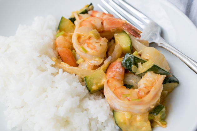 Yum Yum Shrimp with Green Garlic
