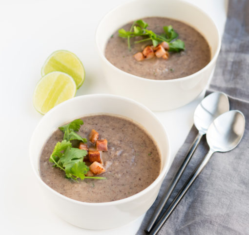 Black Bean and Cauliflower Soup with Ham