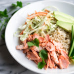 Salmon with Slaw and Cilantro Tahini Dressing