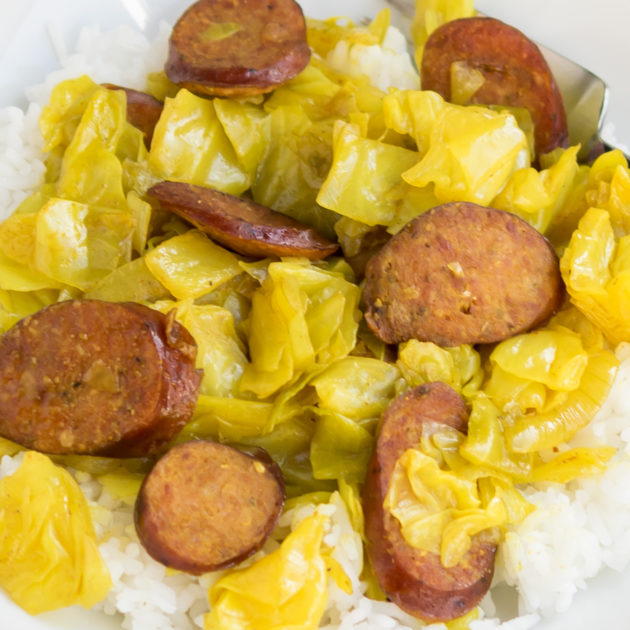 Curry Cabbage and Kielbasa
