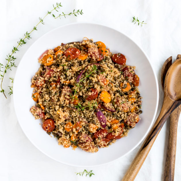 Roasted Vegetable Salad with Quinoa and Lentils