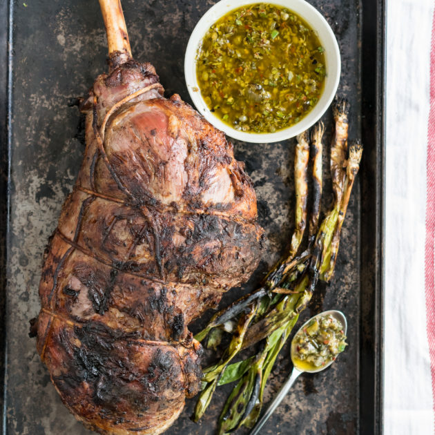 Slow Grilled Lamb with Spicy Salsa Verde