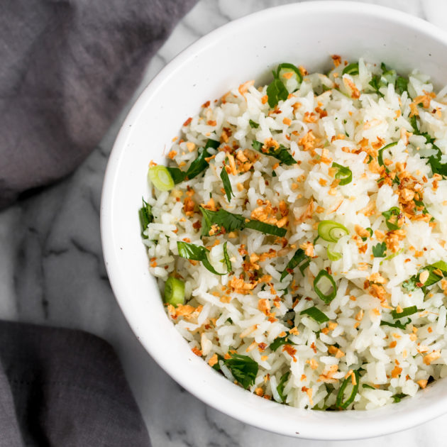 Coconut Rice with Crispy Ginger and Garlic
